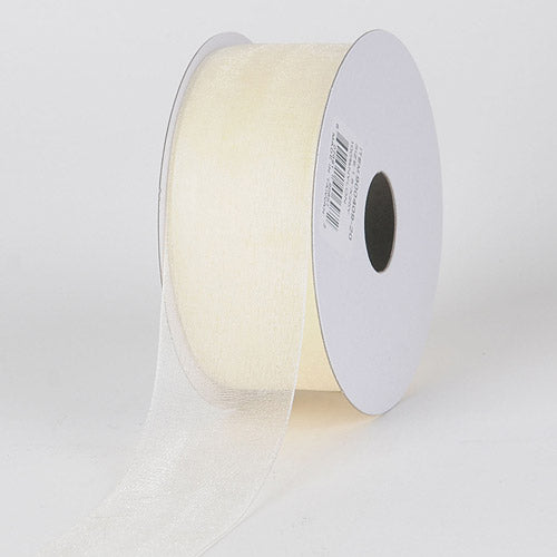 Eggshell - Sheer Organza Ribbon - ( W: 3/8 inch | L: 25 Yards )