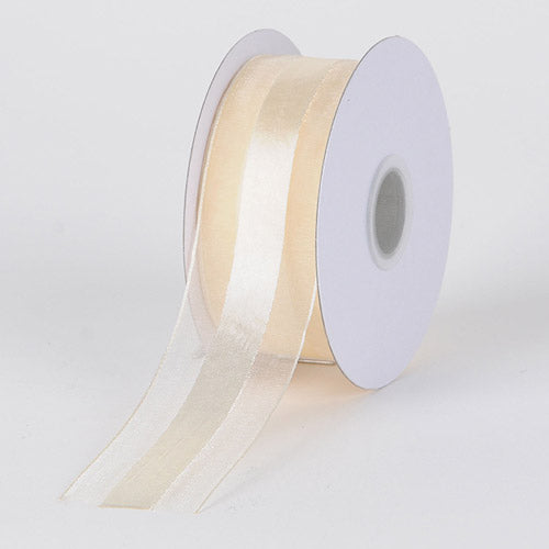 Ivory - Organza Ribbon Satin Center - ( W: 5/8 inch | L: 25 Yards )