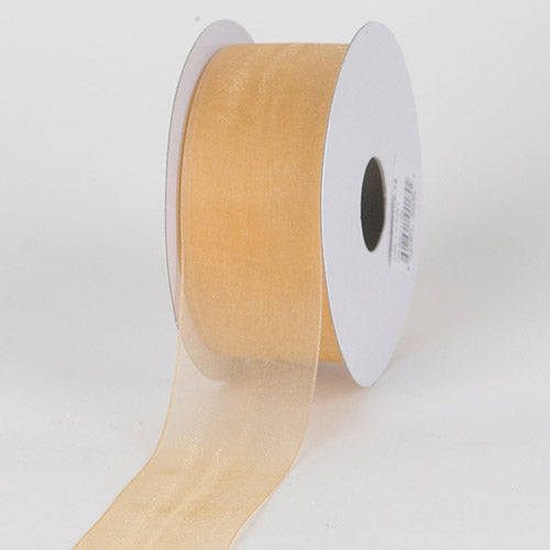 Gold - Sheer Organza Ribbon - ( 7/8 inch | 25 Yards )