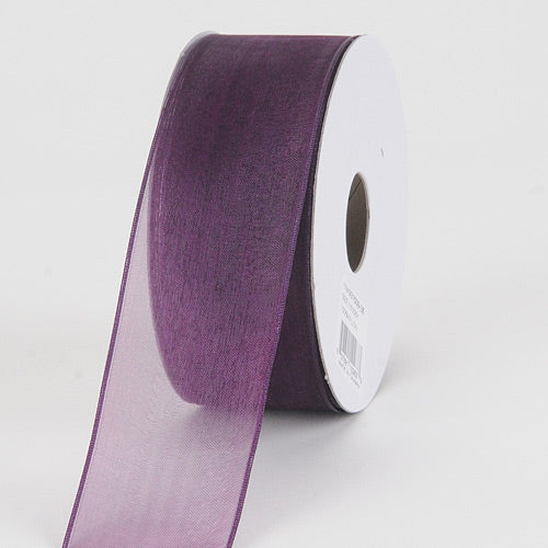 Eggplant - Organza Ribbon Thin Wire Edge 25 Yards - ( 1-1/2 inch | 25 Yards )