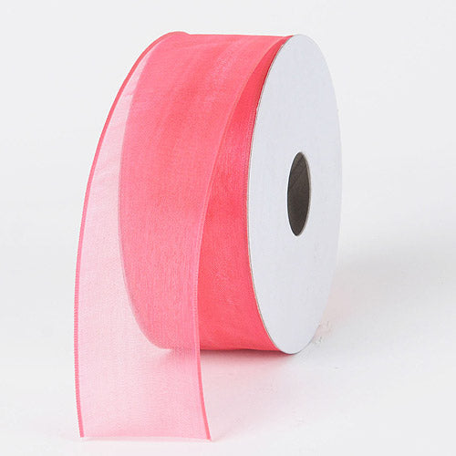 Coral - Organza Ribbon Thin Wire Edge 25 Yards - ( 1-1/2 inch | 25 Yards )