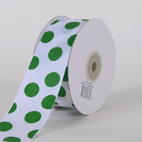 Grosgrain Ribbon Jumbo Dots White with Emerald Dots ( W: 1-1/2 inch | L: 25 Yards )