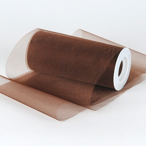 Brown - Organza Fabric 6 Inch - ( W: 6 Inch | L: 25 Yards )
