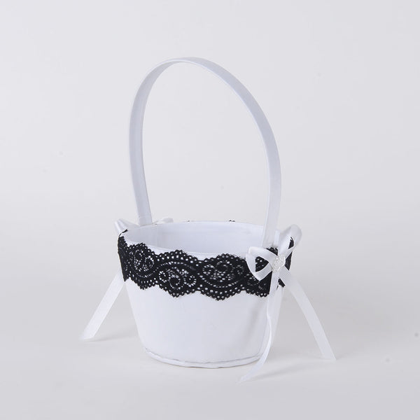 Flower Girl Baskets White Black ( 9 Inch )