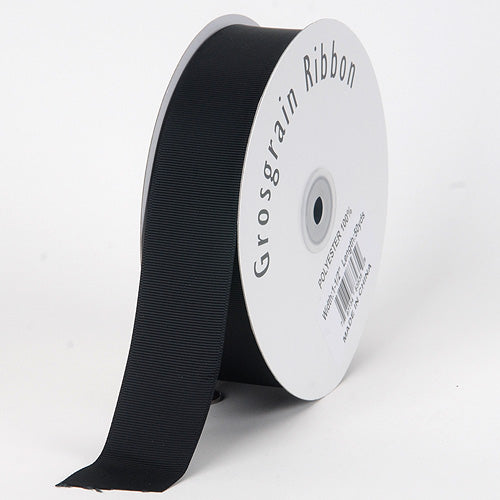 Black - Grosgrain Ribbon Solid Color - ( W: 3/8 inch | L: 50 Yards )