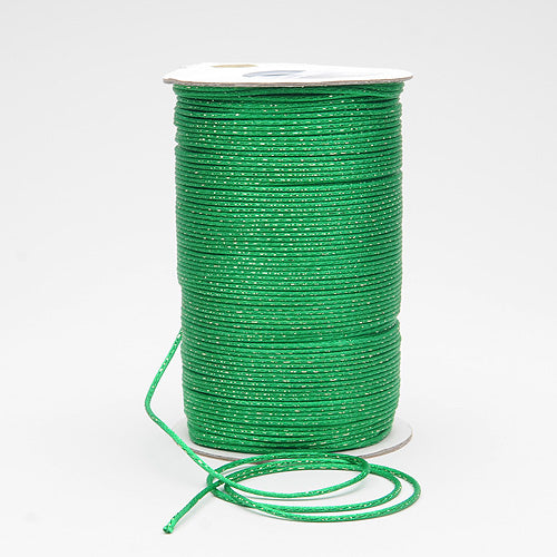 Emerald With Old Gold - 2mm Satin Rat Tail Cord  - ( 2mm x 100 Yards )