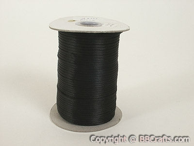Black - 3mm Satin Rat Tail Cord - ( 3mm x 100 Yards )