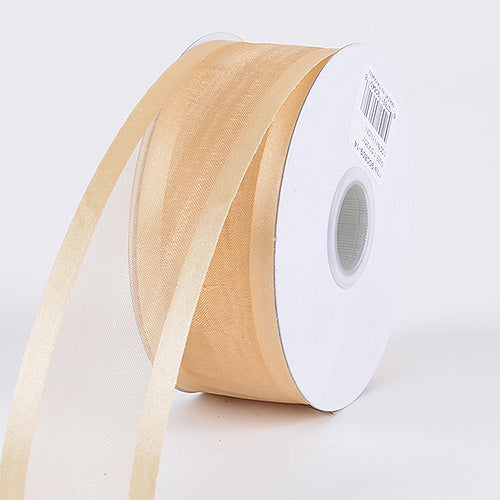 Gold - Organza Ribbon Two Striped Satin Edge - ( 1-1/2 inch | 25 Yards )