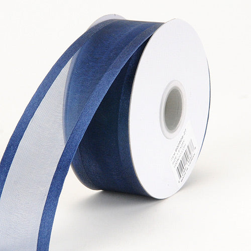 Navy - Organza Ribbon Two Striped Satin Edge - ( 1-1/2 inch | 25 Yards )