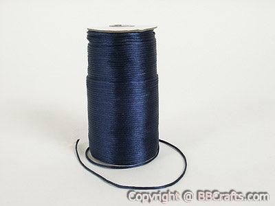 Navy - 3mm Satin Rat Tail Cord - ( 3mm x 100 Yards )