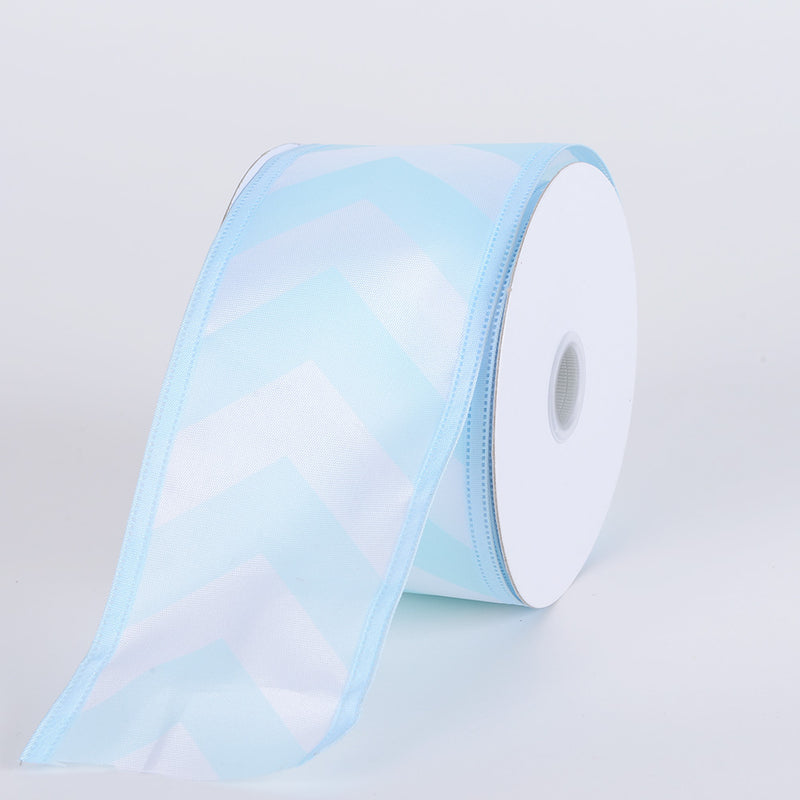Chevron Print Satin Ribbon White with Baby Blue ( W: 1-1/2 inch | L: 10 Yards )