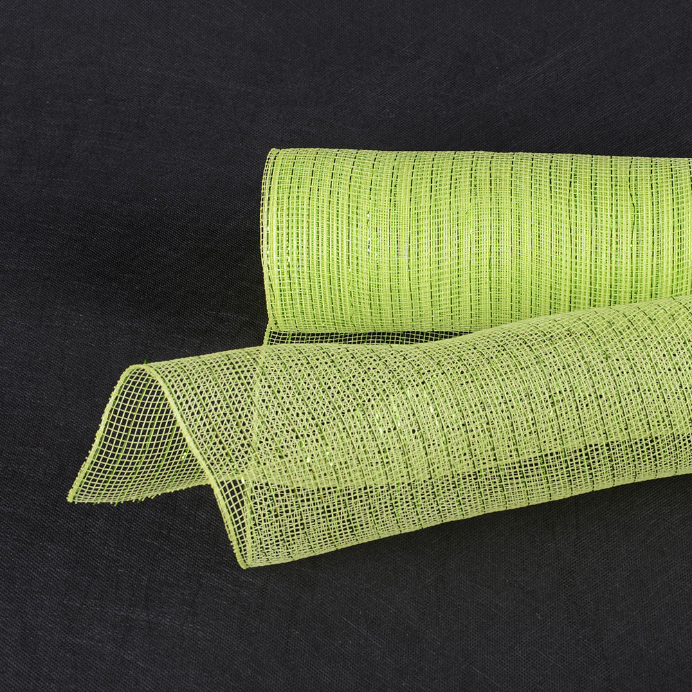 Apple Green  - Deco Mesh Wrap Metallic Stripes -  ( 21 Inch x 10 Yards )