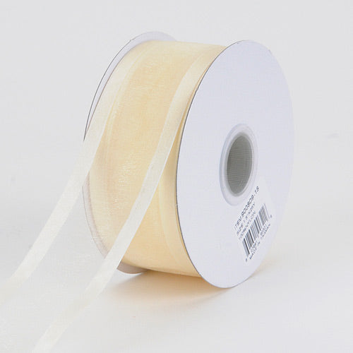 Ivory - Organza Ribbon Two Striped Satin Edge - ( 5/8 inch | 25 Yards )