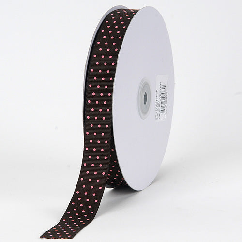 Grosgrain Ribbon Swiss Dot Chocolate with Pink Dots ( W: 3/8 inch | L: 50 Yards )