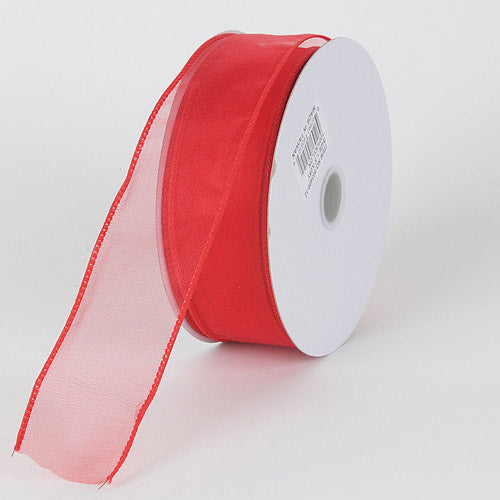 Red - Organza Ribbon Thick Wire Edge 25 Yards - ( 2-1/2 inch | 25 Yards )
