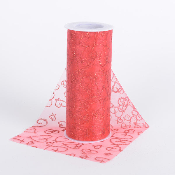 Red - 6 Inch Glitter Hearts Organza Roll - ( W: 6 Inch | L: 10 Yards )