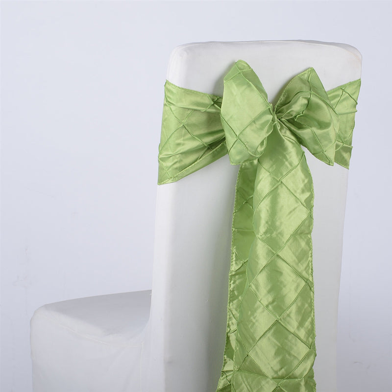 Apple Green - 7 inch x 108 inch Pintuck Satin Chair Sash - Pack of 10