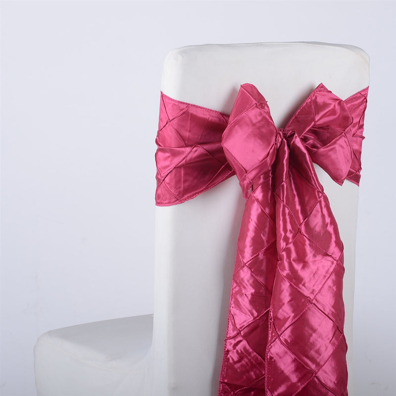 Fuchsia - 7 inch x 108 inch Pintuck Satin Chair Sash - Pack of 10