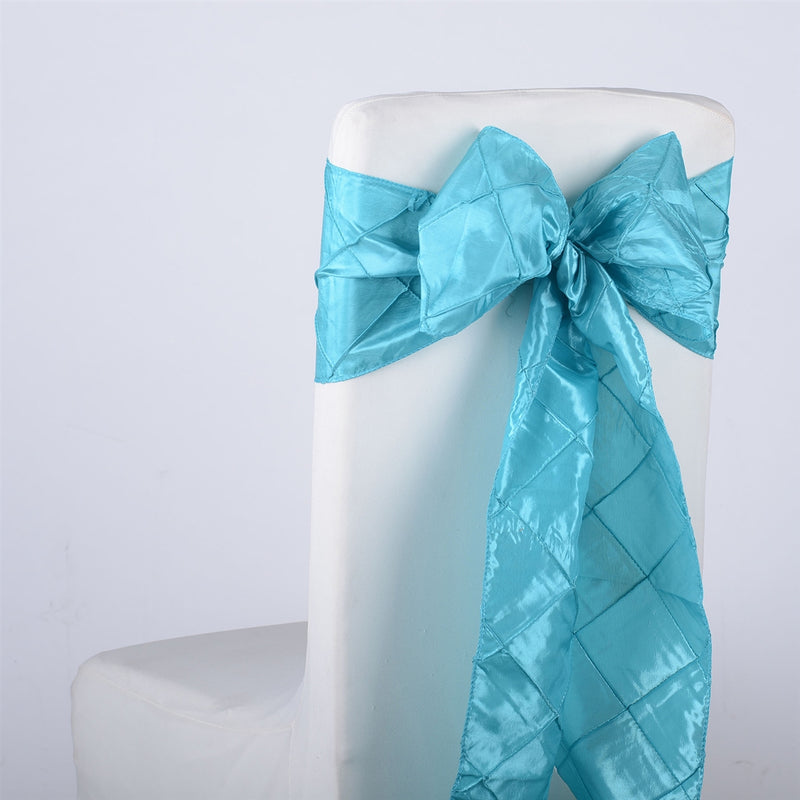 Turquoise - 7 inch x 108 inch Pintuck Satin Chair Sash - Pack of 10