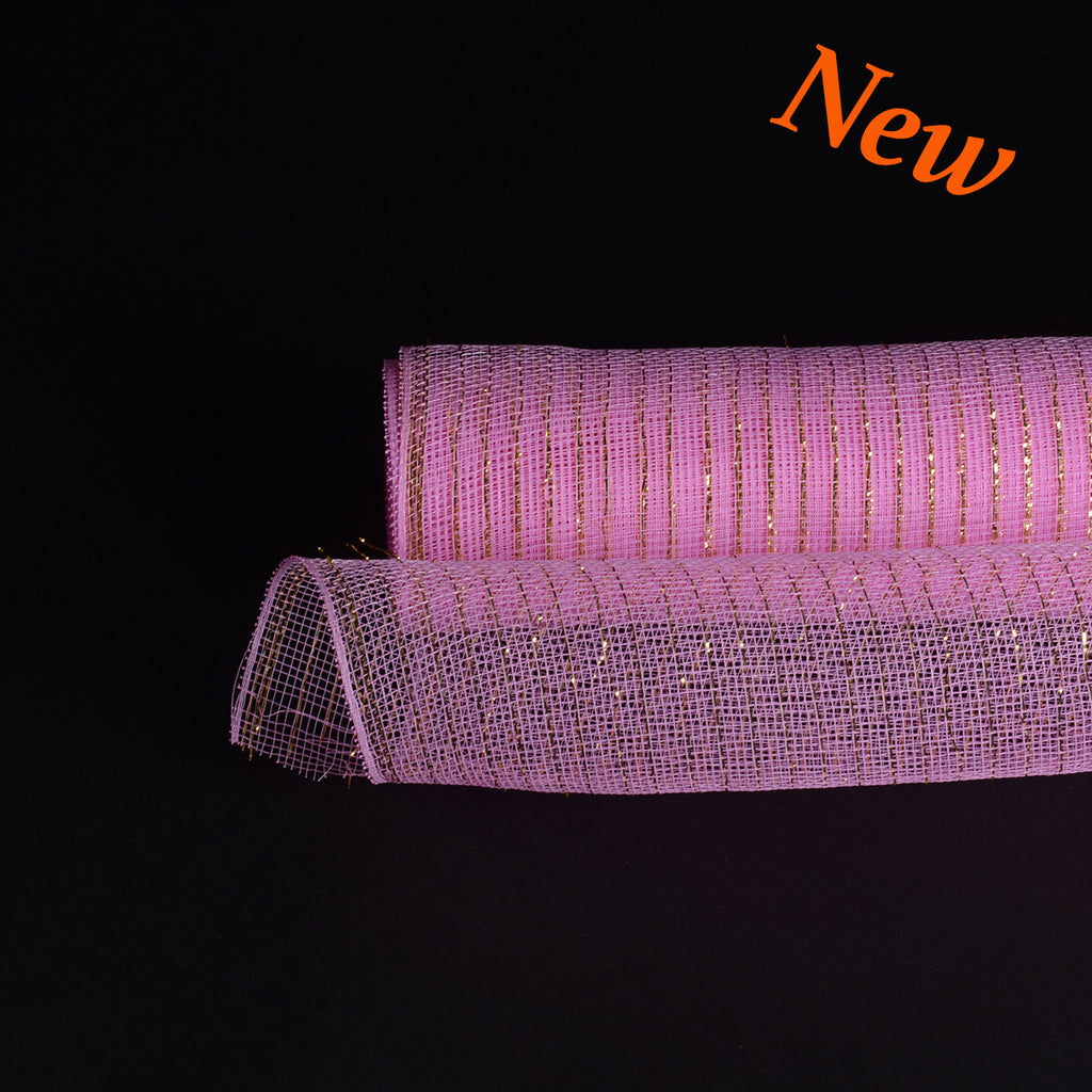 Pink with Gold Lines  - Deco Mesh Wrap Metallic Stripes -  ( 21 Inch x 10 Yards )
