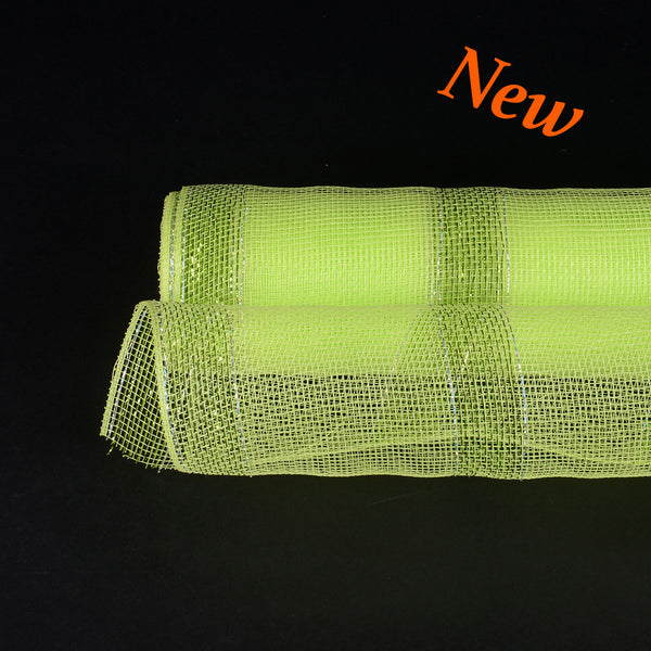 Apple Green with Green Lines Christmas Mesh - 21 Inch x 10 Yards