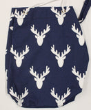 Navy background with White Moose heads 15x14 bag, 9x16bag, 7x14 bag