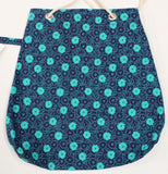 Navy and Green Teal flowers 15x14 bag, 9x16 bag, 7x14 bag