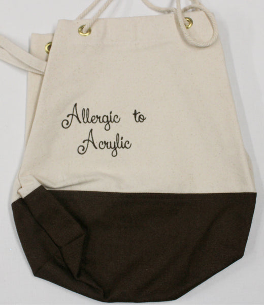 Embroidered Allergic to Acrylic Cream and Brown Bags 15x14 Bag
