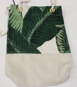 Large Leaf print with Cream Bottom 15x14 Bag