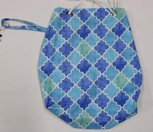 Blue Geometric Tiles Bag 15x14 Bag, 9x16 Bag, 7x14 Bag, 6x11 Bag