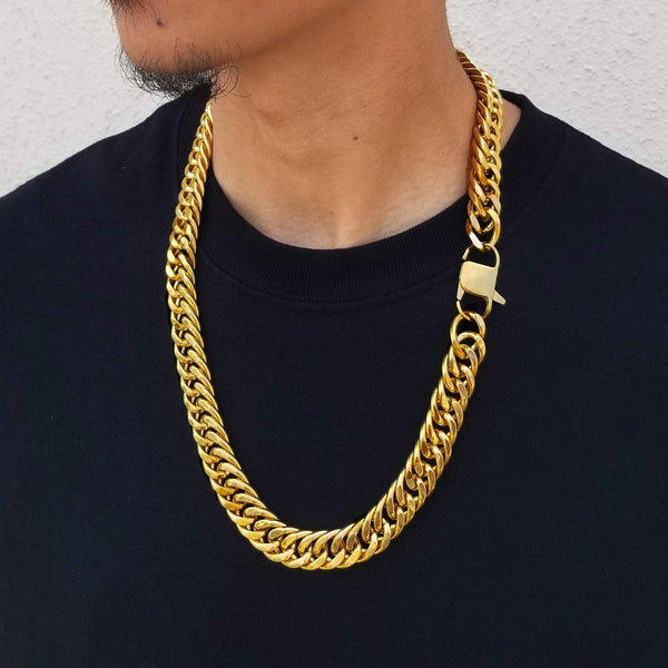 14K Gold Double Cuban Chain - Custom Hip-Hop Jewelry