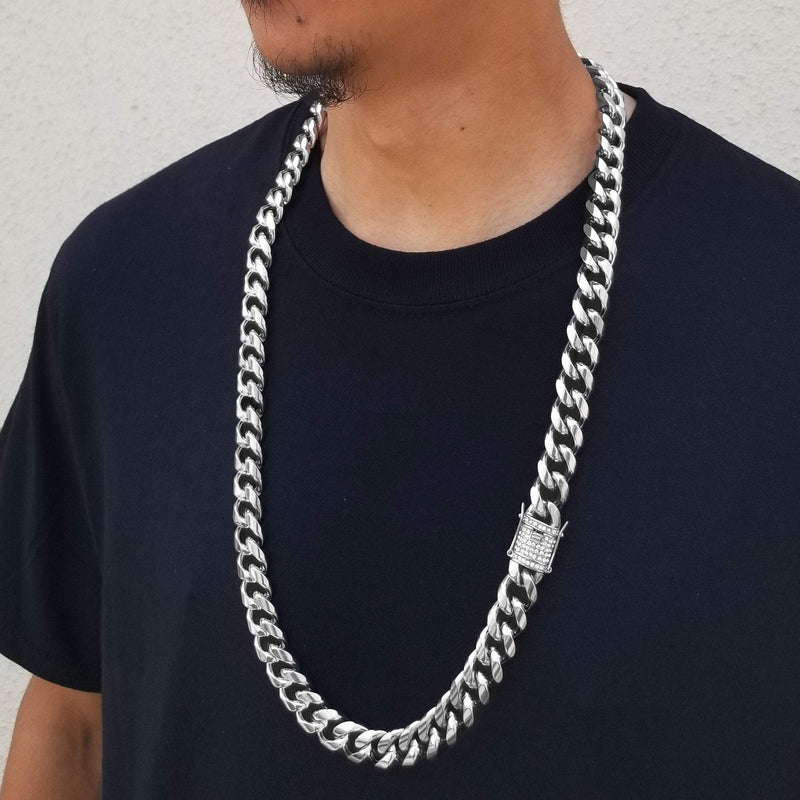 14K Gold/Silver Cuban Chain With Diamond Clasp-King's Jewelers-Custom-Hip-Hop-Jewelry