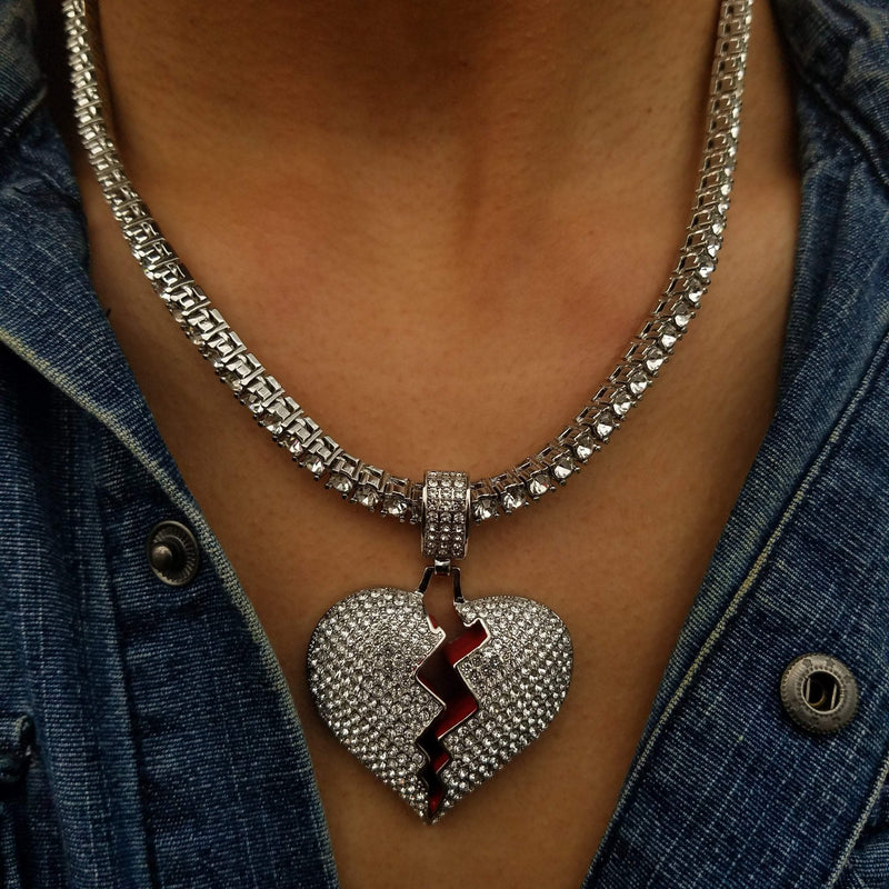 14K White Gold Broken Heart-King's Jewelers-Custom-Hip-Hop-Jewelry