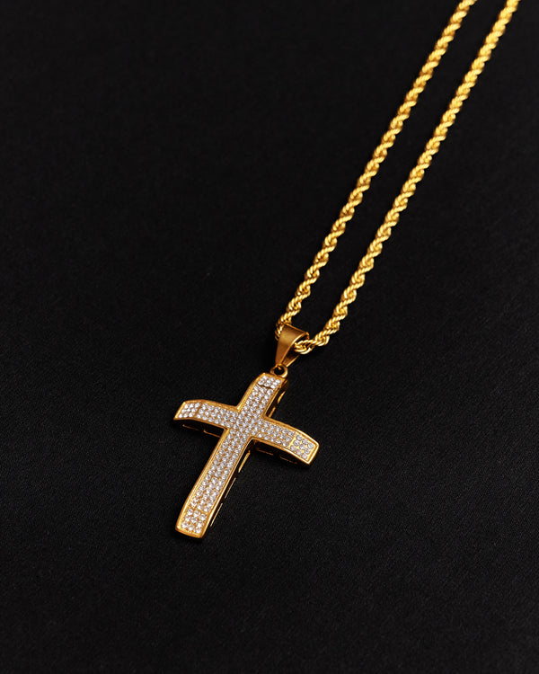 14K Gold Iced Out Cross Necklace
