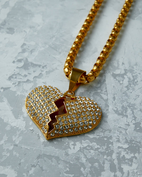 Gold Broken Heart Necklace