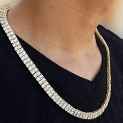 2 Row Iced Out Gold Tennis Chain-King's Jewelers-Custom-Hip-Hop-Jewelry