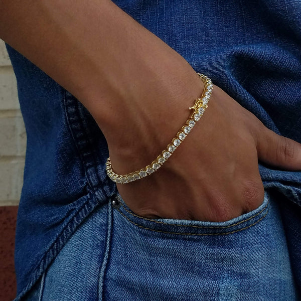 4MM Gold Row Tennis Bracelet-King's Jewelers-Custom-Hip-Hop-Jewelry