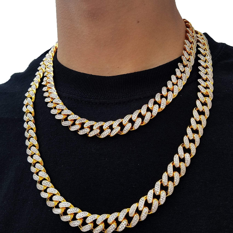 Double Toned 18K Gold Cuban Link Choker-King's Jewelers-Custom-Hip-Hop-Jewelry