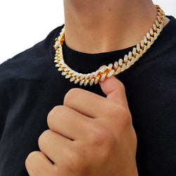 Double Toned Gold Cuban Link Choker-King's Jewelers-Custom-Hip-Hop-Jewelry