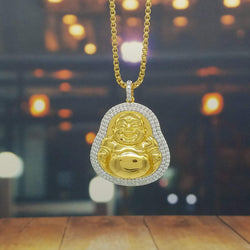 Golden Laughing Buddha Necklace-King's Jewelers-Custom-Hip-Hop-Jewelry