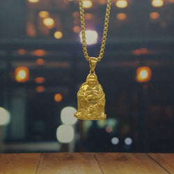 Golden Meditating Buddha Necklace-King's Jewelers-Custom-Hip-Hop-Jewelry