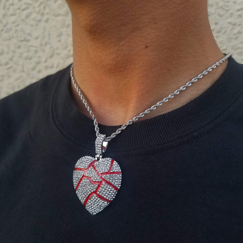 Gold/Silver Cracked Heart (With Matching Chain!)-King's Jewelers-Custom-Hip-Hop-Jewelry