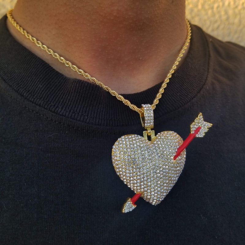 Gold/Silver Cupid Heart (Heart with Arrow!)-King's Jewelers-Custom-Hip-Hop-Jewelry