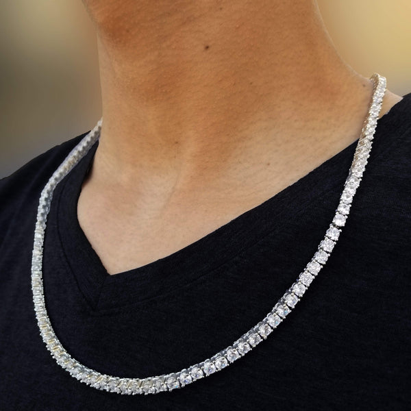 Gold/Silver Single Row Tennis Chain-King's Jewelers-Custom-Hip-Hop-Jewelry