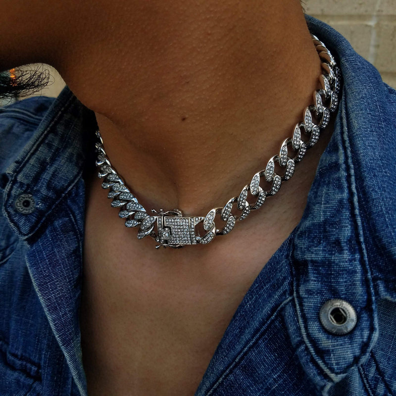 Iced Out White Gold Cuban Choker-King's Jewelers-Custom-Hip-Hop-Jewelry