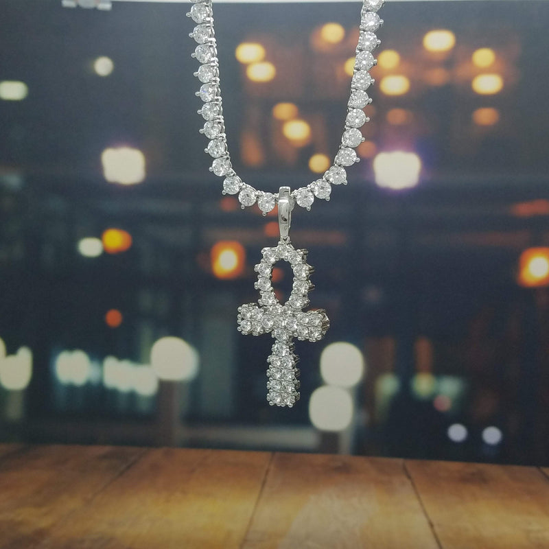 Icy Ankh Necklace-King's Jewelers-Custom-Hip-Hop-Jewelry