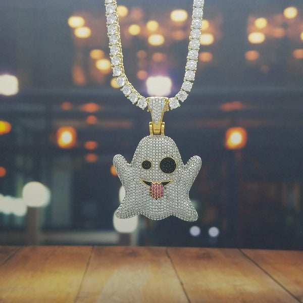 Icy Ghost Emoji-King's Jewelers-Custom-Hip-Hop-Jewelry