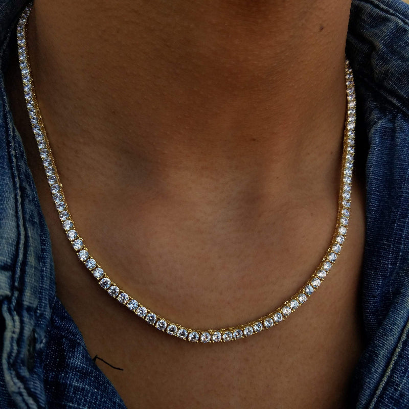 Round Tennis Chain - Gold/White Gold/Rose Gold-King's Jewelers-Custom-Hip-Hop-Jewelry