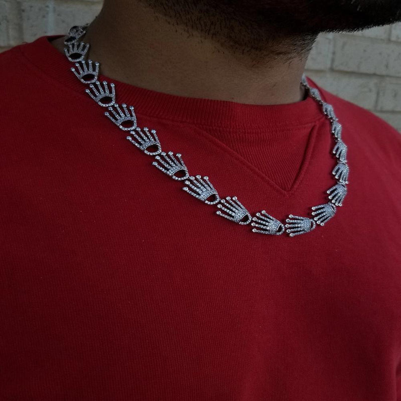 Silver Crown Necklace-King's Jewelers-Custom-Hip-Hop-Jewelry