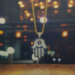 Silver Hamsa Necklace-King's Jewelers-Custom-Hip-Hop-Jewelry
